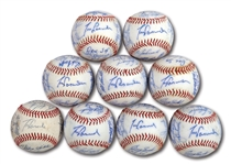 WALTER ALSTONS LOT OF (9) 1982 LOS ANGELES DODGERS TEAM SIGNED BASEBALLS (ALSTON COLLECTION)
