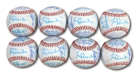 WALTER ALSTONS LOT OF (8) 1983 LOS ANGELES DODGERS TEAM SIGNED BASEBALLS (ALSTON COLLECTION)