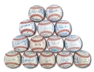 WALTER ALSTONS LOT OF (14) DIFFERENT 1982-2001 LOS ANGELES DODGERS TEAM SIGNED BASEBALLS (ALSTON COLLECTION)
