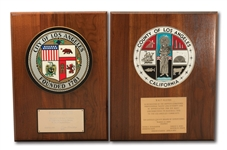 WALTER ALSTONS PAIR OF HONORARY PLAQUES FROM THE CITY AND COUNTY OF LOS ANGELES (ALSTON COLLECTION)