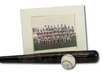 WALTER ALSTONS 1975 NL ALL-STAR TEAM SIGNED BASEBALL, PRESENTATION PHOTO AND H&B COMMEMORATIVE BLACK BAT (ALSTON COLLECTION)