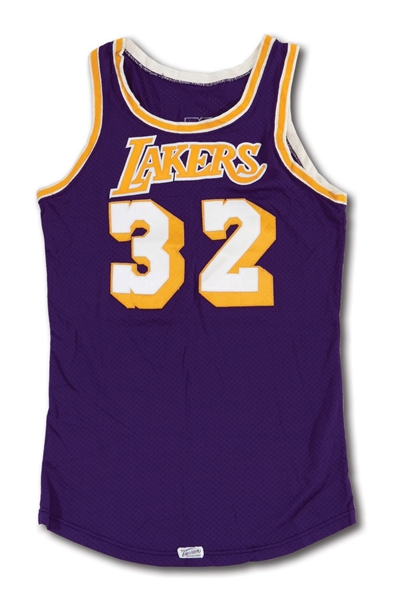 EARLY 1980S MAGIC JOHNSON LOS ANGELES LAKERS GAME WORN ROAD JERSEY (MEARS A10, HOLLYWOOD AGENT COLLECTION)