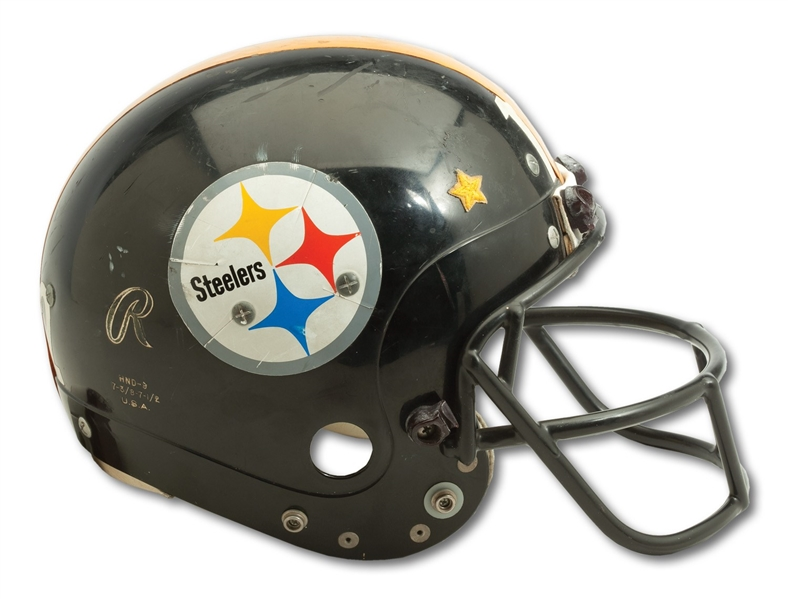 1979 TERRY BRADSHAW PITTSBURGH STEELERS GAME WORN HELMET GIFTED TO WILLIE STARGELL - PHOTOMATCHED TO MULTIPLE GAMES PLUS 12/31/79 SI SPORTSMEN OF THE YEAR COVER (STARGELL COLLECTION)