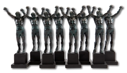 LOT OF (8) MINIATURE 12-INCH TALL ROCKY BALBOA SCULPTURES BY A. THOMAS SCHOMBERG (SDHOC COLLECTION)
