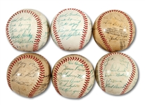 LOT OF (6) 1940-60S PCL SAN DIEGO PADRES TEAM SIGNED BASEBALLS (SDHOC COLLECTION)