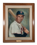 TED WILLIAMS ORIGINAL FRAMED SAN DIEGO HALL OF CHAMPIONS PAINTING BY ARTIST WILLIAM PIERCE (SDHOC COLLECTION)