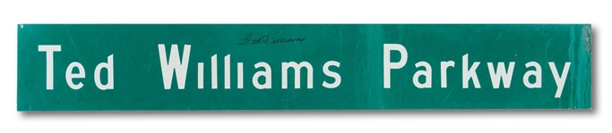 TED WILLIAMS PARKWAY 5.5-FT. WIDE SAN DIEGO STREET SIGN AUTOGRAPHED BY TED WILLIAMS (SDHOC COLLECTION)