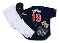 TONY GWYNNS 9/14/1998 CAREER HIT #2,915 GAME WORN & SIGNED UNIFORM ENSEMBLE INCL. JERSEY, PANTS, CAP, BATTING GLOVES & WRISTBANDS (SDHOC COLLECTION)