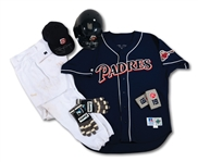 TONY GWYNNS 9/18/1998 CAREER HIT #2,919 GAME WORN & SIGNED UNIFORM ENSEMBLE INCL. JERSEY, PANTS, CAP, WRISTBANDS, BATTING GLOVES AND HELMET (SDHOC COLLECTION)
