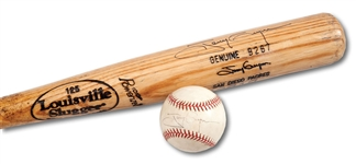 TONY GWYNNS 9/18/1998 CAREER HIT #2,919 GAME USED AND AUTOGRAPHED BAT AND BASEBALL (SDHOC COLLECTION)