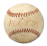 1927 BABE RUTH SIGNED BASEBALL (SDHOC COLLECTION)