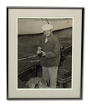 "4/12/1947 BABE RUTH ORIGINAL 11"" X 14"" PHOTOGRAPH FISHING IN FLORIDA WITH CIGAR IN HAND (SDHOC COLLECTION)"