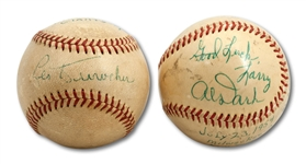 PAIR OF 1953 AND 1954 WORLD CHAMPION NEW YORK GIANTS GAME USED BASEBALLS SIGNED BY LEO DUROCHER AND AL DARK, RESPECTIVELY (SDHOC COLLECTION)