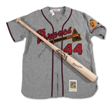 HANK AARON AUTOGRAPHED REPLICA JERSEY AND BAT (SDHOC COLLECTION)