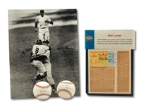 10/8/1956 DON LARSEN SIGNED WORLD SERIES PERFECT GAME TICKET STUB WITH BOX SCORE PLUS TWO LARSEN SIGNED BALLS AND LARSEN/BERRA SIGNED PHOTO (SDHOC COLLECTION)