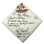 "LOU BROCK SIGNED AND DATED ""AUGUST 29, 1977"" BASE INSCRIBED TO MCDONALD'S FOUNDER RAY KROC COMEMORATING HIS ALL-TIME RECORD 893RD STOLEN BASE AT SAN DIEGO STADIUM (SDHOC COLLECTION)"