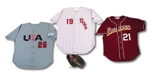 MARK PRIOR HIGH SCHOOL (USDHS), COLLEGE (USC) AND TEAM USA GAME WORN JERSEYS AND GAME USED GLOVE ENSEMBLE (SDHOC COLLECTION)