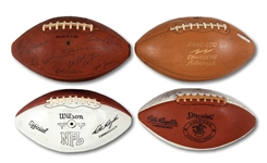 SAN DIEGO CHARGERS 1962, 1966, 1969 & 1973 LOT OF (4) TEAM SIGNED FOOTBALLS - ONE FEATURING JOHNNY UNITAS (SDHOC COLLECTION)