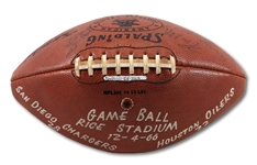 12/4/1966 SAN DIEGO CHARGERS TEAM SIGNED AND GAME USED FOOTBALL VS. HOUSTON OILERS (SDHOC COLLECTION)