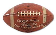 8/24/1968 SAN DIEGO CHARGERS TEAM SIGNED AND GAME USED FOOTBALL VS. L.A. RAMS - PRESENTED TO HOTEL MAGNATE AND AFL CO-FOUNDER BARRON HILTON (SDHOC COLLECTION)