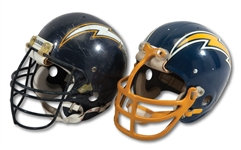 PAIR OF SAN DIEGO CHARGERS HELMETS INCL. 1970S ERA PRO MODEL AND 1988-91 GAME USED EXAMPLE (SDHOC COLLECTION)