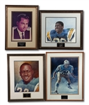 LOT OF (4) SAN DIEGO CHARGERS HALL OF FAME INDUCTION PRINTS INCL. BARRON HILTON, SCHUCK ALLEN, EARL FAISON & PAUL LOWE (SDHOC COLLECTION)
