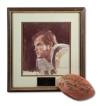 LANCE ALWORTHS 1977 SAN DIEGO CHARGERS HALL OF FAME INDUCTION PRINT AND SIGNED FOOTBALL (SDHOC COLLECTION)