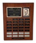 SAN DIEGO CHARGERS EMIL KARAS AWARD FOR MOST INSPIRATIONAL PLAYER SPANNING 1976 TO 1992 (SDHOC COLLECTION)
