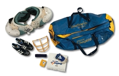 SAN DIEGO CHARGERS EQUIPMENT BAG PACKED WITH (7) 1970-80S GAME USED AND PLAYER/COACH ATTRIBUTED ITEMS INCL. DON CORYELLS SHOES (SDHOC COLLECTION)