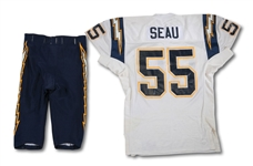 1997-99 JUNIOR SEAU SAN DIEGO CHARGERS GAME WORN JERSEY AND PANTS (SDHOC COLLECTION)