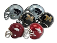 LOT OF (6) GAME USED HELMETS INCL. (2) ARKANSAS RAZORBACKS, (2) MISSOURI TIGERS, AND (2) KANSAS STATE WILDCATS (SDHOC COLLECTION)