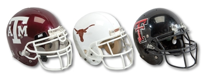 TRIO OF 1998-2003 TEXAS LONGHORNS (#1), 2005-06 TEXAS A&M AGGIES & 2000 TEXAS TECH RED RAIDERS GAME USED HELMETS (SDHOC COLLECTION)