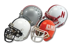 BIG TEN LOT OF (4) GAME USED HELMETS INCL. 2004 OHIO STATE BUCKEYES (#74), 2006-07 NEBRASKA CORNHUSKERS (#7), 2000-04 ILLINOIS FIGHTING ILLINI & 2003 PENN STATE NITTANY LIONS (SDHOC COLLECTION)