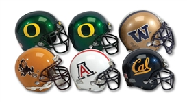 PAC 10 LOT OF (4) GAME USED HELMETS INCL. 1998 WASHINGTON HUSKIES, 2003-04 CAL BEARS, 2001-02 ARIZONA WILDCATS & 2003 ARIZONA STATE SUN DEVILS PLUS TWO OREGON DUCKS PRO MODELS (SDHOC COLLECTION)