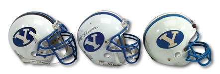 TRIO OF 1984, 1995-96 & 1996-99 BYU COUGARS GAME WORN HELMETS - ONE SIGNED BY LEGENDARY COACH LAVELL EDWARDS (SDHOC COLLECTION)
