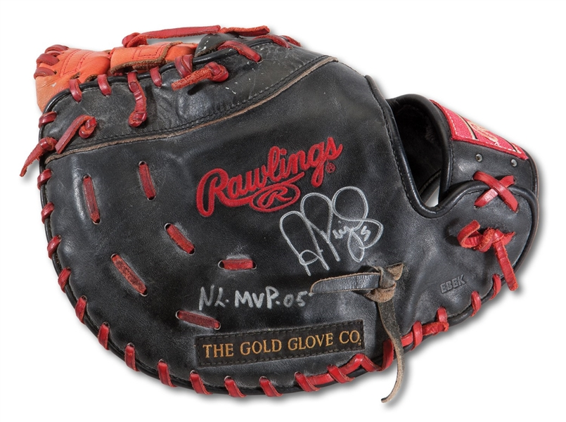 2005 ALBERT PUJOLS (1ST MVP SEASON) PLAYOFFS GAME USED & SIGNED FIRST BASEMANS GLOVE PHOTOMATCHED TO NLCS GAMES 5 & 6 - FAMOUS GW 3-RUN HR OFF LIDGE AND FINAL GAME EVER PLAYED AT OLD BUSCH STADIUM (PUJOLS FOUNDATION LOA, PSA/DNA GU LOA)