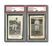 1922 W501 #17 WALTER JOHNSON PSA VG-EX 4 AND #114 ROGERS HORNSBY PSA VG 3