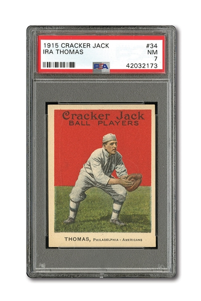1915 CRACKER JACK #34 IRA THOMAS PSA NM 7
