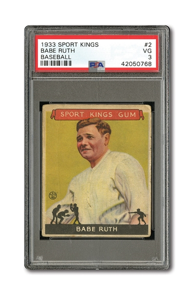 1933 GOUDEY SPORT KINGS #2 BABE RUTH PSA VG 3