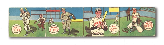 1943 M.P. & CO. R302 BASEBALL UNCUT PANEL OF 4 WITH FOXX, OTT, FELLER AND COOPER