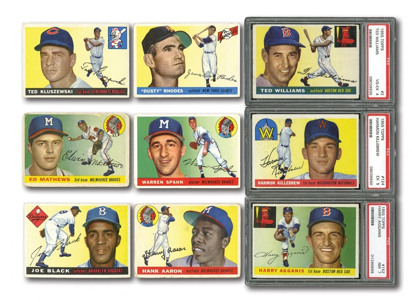 1955 TOPPS BASEBALL GROUP OF (527) CARDS INCL. MINOR STARS & HOFERS (MANY DUPLICATES)