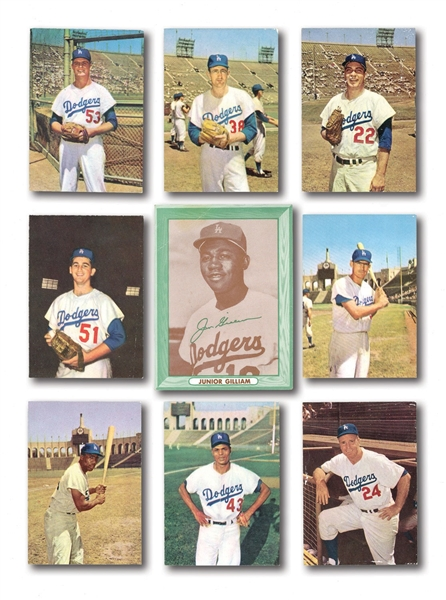 1958-61 L.A. DODGERS LOT OF (8) 1960 MORRELL MEATS (INCL. DRYSDALE) AND (2) BELL BRAND JIM GILLIAM CARDS (ONE STILL IN WRAPPER)