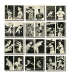1959 MARUKAMI 2-IN-1 BLACK & WHITE JAPANESE CARD LOT OF (44) IN 2-CARD PANELS WITH 26 BASEBALL