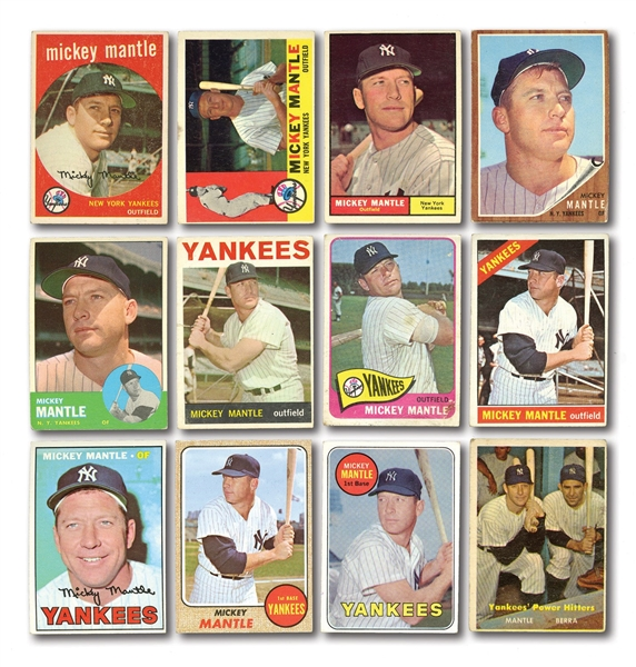 1959-1969 TOPPS MICKEY MANTLE RUN (REGULAR ISSUES) PLUS 1957 TOPPS #407 MANTLE/BERRA (YANKEES POWER HITTERS) – 12 UNGRADED CARDS