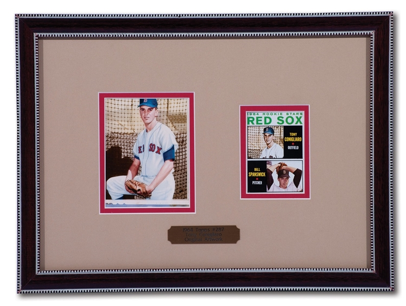 1964 TOPPS ORIGINAL FLEXICHROME ARTWORK USED FOR #287 TONY CONIGLIARO ROOKIE CARD IN FRAMED DISPLAY WITH ACTUAL CARD
