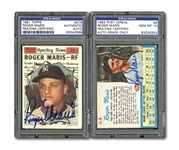 PAIR OF 1961 TOPPS #576 AND 1962 POST CEREAL #6 ROGER MARIS AUTOGRAPHED CARDS