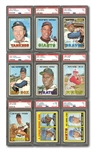 1967 TOPPS COMPLETE SET OF (609) WITH (45) PSA GRADED – MOST GRADED HOFERS/STARS PSA NM 7 OR BETTER