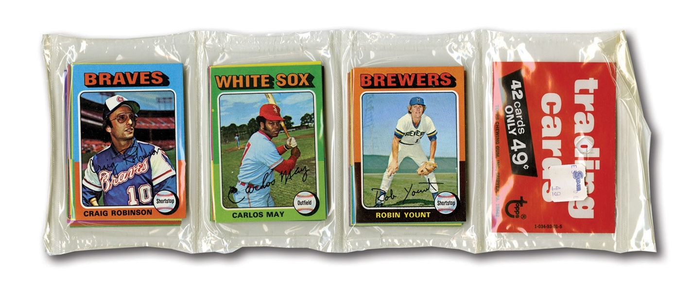 1975 TOPPS BASEBALL MINI UNOPENED RACK PACK WITH #223 ROBIN YOUNT ROOKIE SHOWING