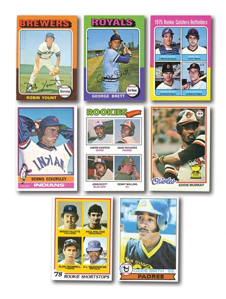 1977 AND 1978 TOPPS BASEBALL COMPLETE SETS (2) PLUS 1975, 1976, AND 1979 TOPPS BASEBALL NEAR COMPLETE SETS