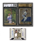 DEREK JETER SIGNED 1993 UPPER DECK #449 ROOKIE (BECKETT 10 AUTO.) AND 1997 BOWMANS BEST AUTOGRAPHS #82 (BECKETT GEM-MT 9.5 / AUTO 10) PLUS JETER & YOGI BERRA DUAL-SIGNED UD ULTIMATE COLLECTION DUAL MATERIALS (#05/25)